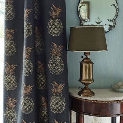 Barneby Gates fabric - Pineapples, Gold on Charcoal