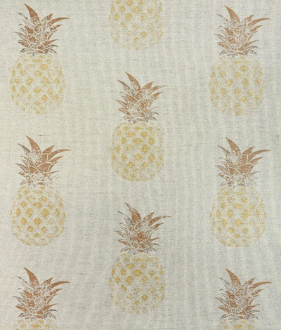 Barneby Gates fabric - Pineapples, Gold on natural