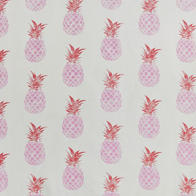 Barneby Gates fabric - Pineapples, Pink/red on cream