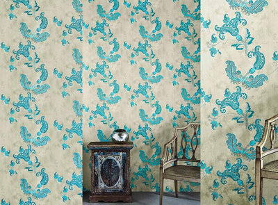 Barneby Gates wallpaper - Paisley, Turquoise