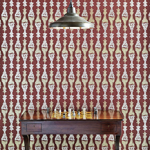 Open image in slideshow, Barneby Gates wallpaper - Chess, Burgundy