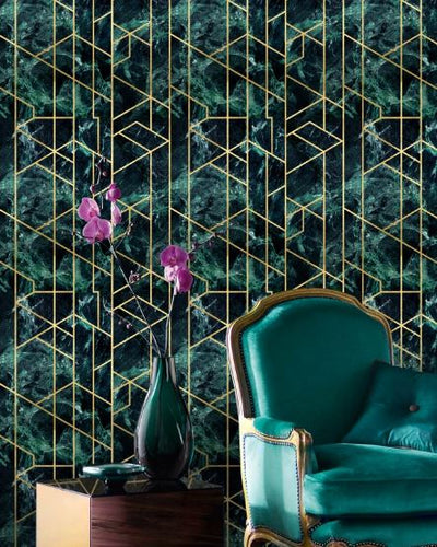 Gramercy Emerald  Metallic Wallpaper - Manhattan Metallic Collection- Mind the Gap