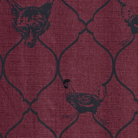 Barneby Gates fabric - Fox and Hen, Brick