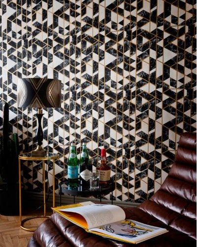 Gramercy Onyx Metallic Wallpaper - Manhattan Metallic Collection- Mind the Gap