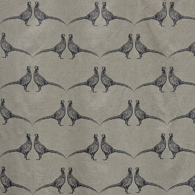Barneby Gates fabric - Pheasant, Charcoal on Natural
