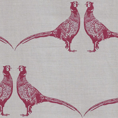 Barneby Gates fabric - Pheasant, Pink on Cream