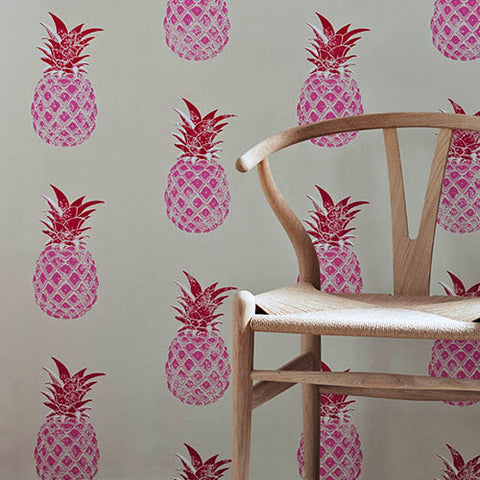 Barneby Gates wallpaper - Pineapples, Red & Pink