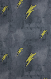 Barneby Gates wallpaper - Bolt From Mars - Yellow on Charcoal