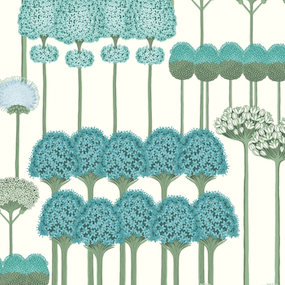Allium - Teal and Jade on White