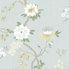 Camellia - Lemon & Sage on Print Room Blue