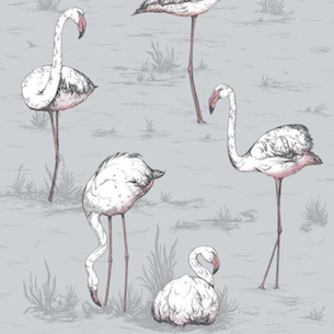 Flamingos - Lilac Grey