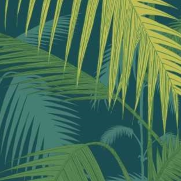 Palm Jungle - Petrol & Lime