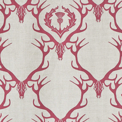 Barneby Gates fabric - Deer Damask, Claret