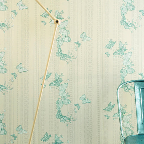 Barneby Gates wallpaper - Bugs and Butterflies, Ice Blue