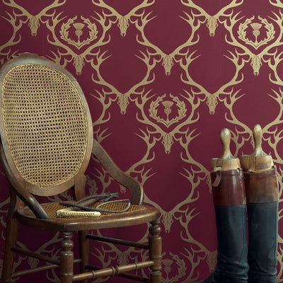 Barneby Gates wallpaper - Deer Damask, Claret and Gold