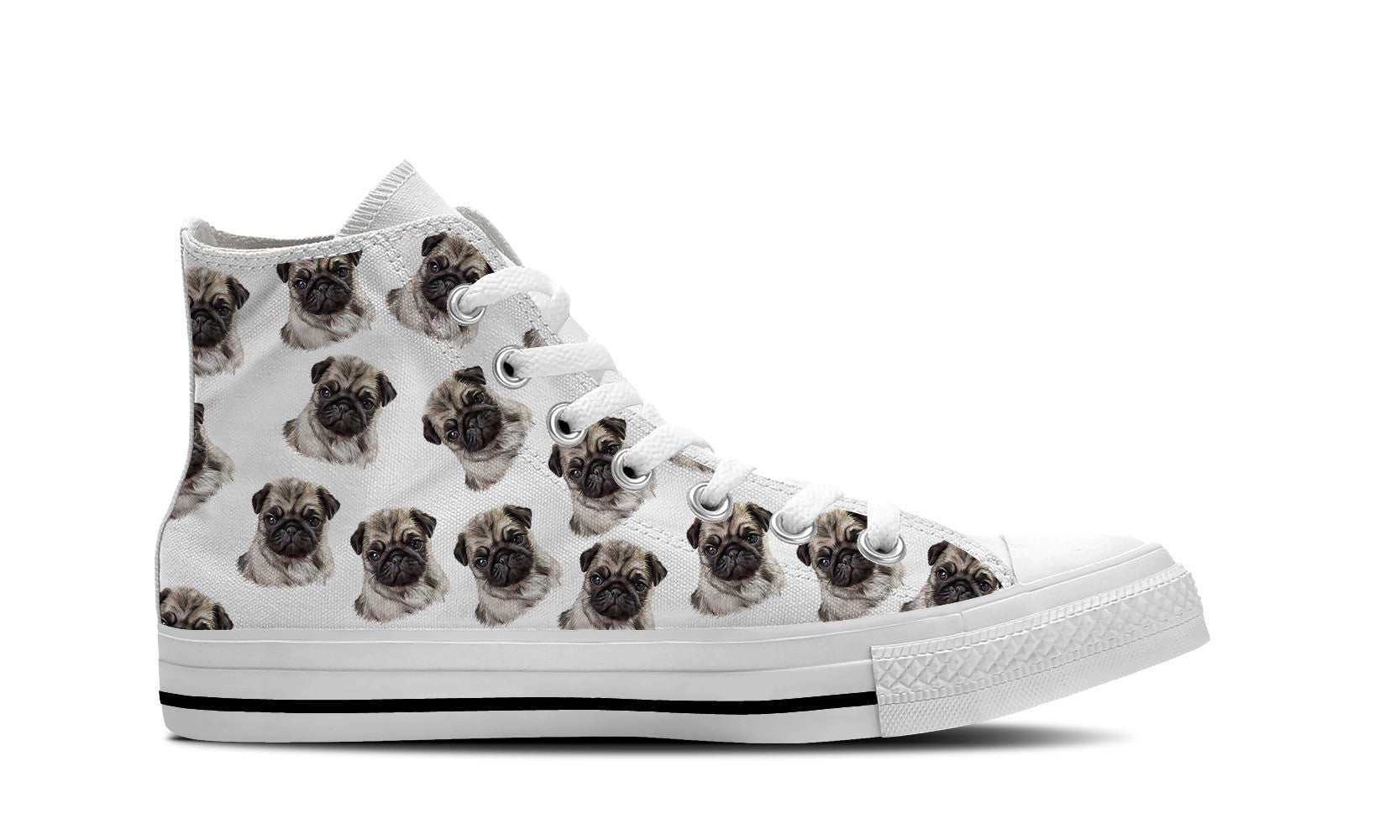 Pug Love Womens High Top Shoe (White)
