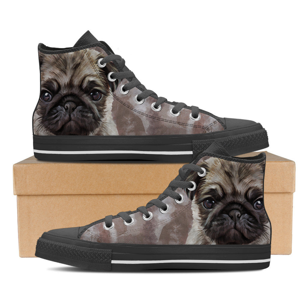 Loyal Pug Mens High Top Shoe (Black)