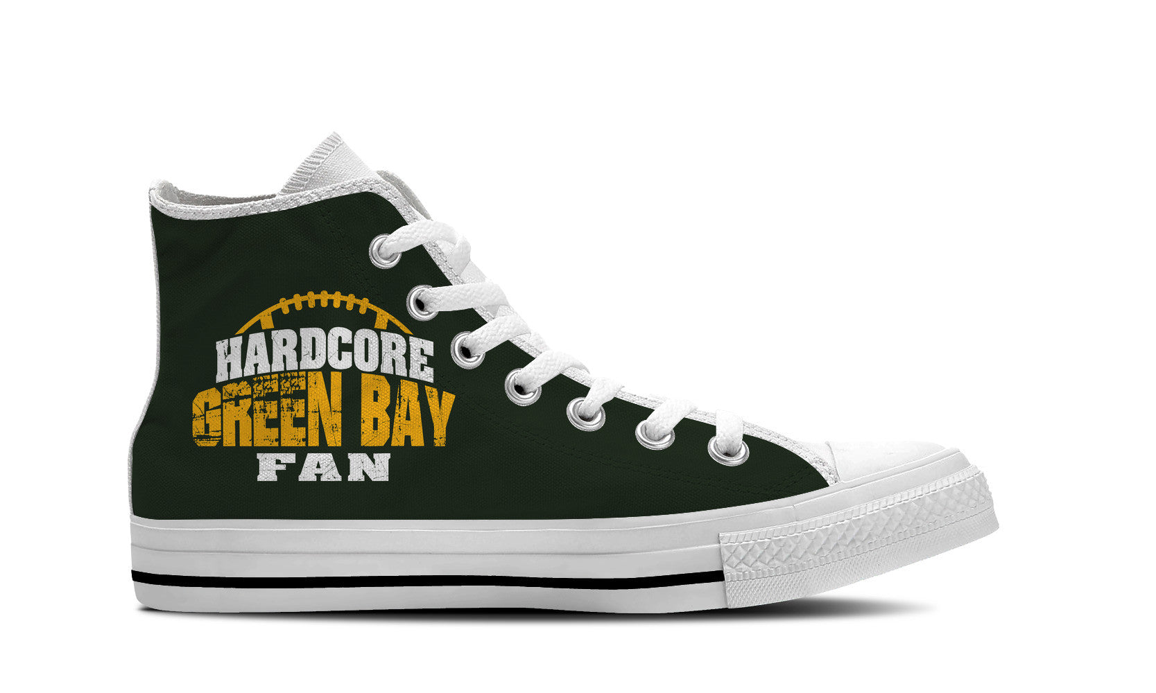 Hardcore Green Bay Football Fan Mens High Top Shoe