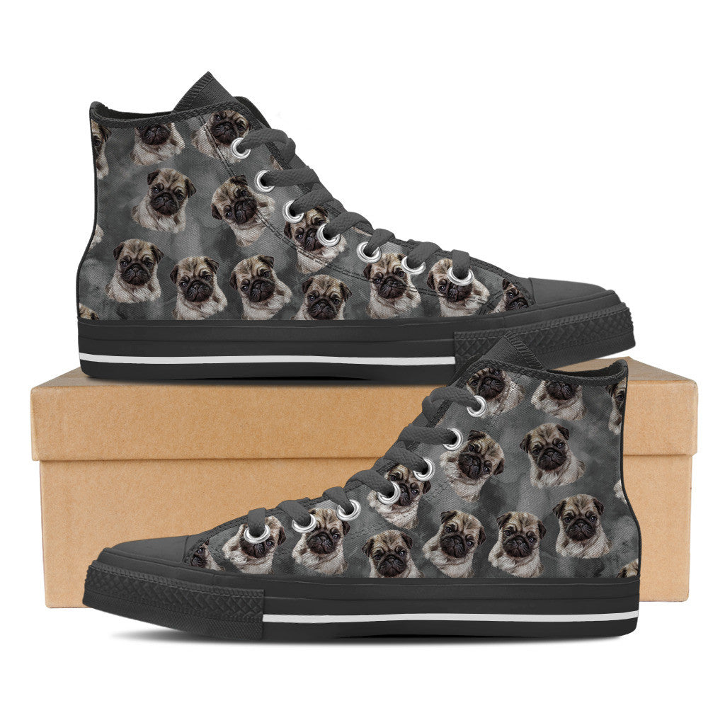 Loyal Pugs Mens High Top Shoe (Black)