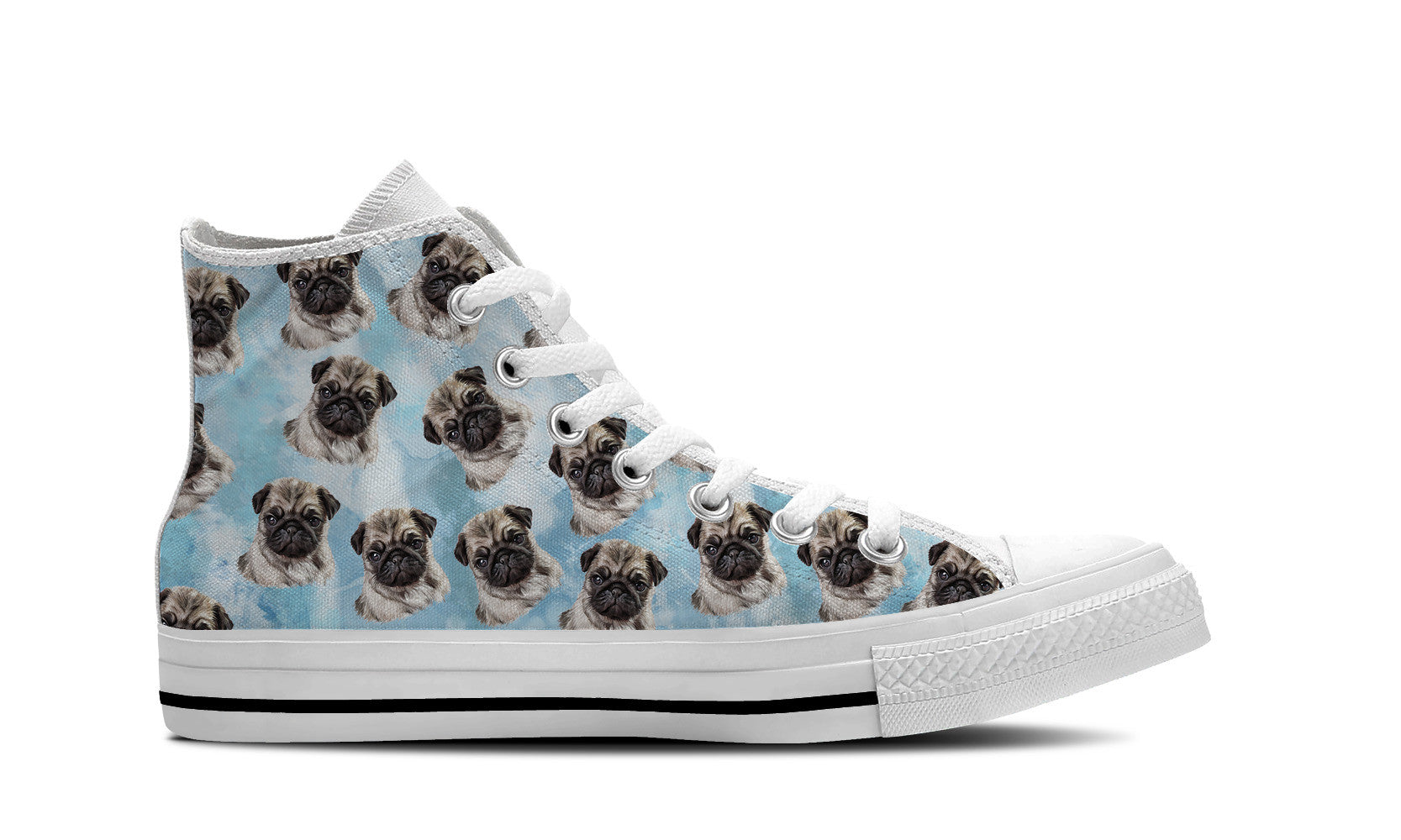Pug Love Womens High Top Shoe (Blue)