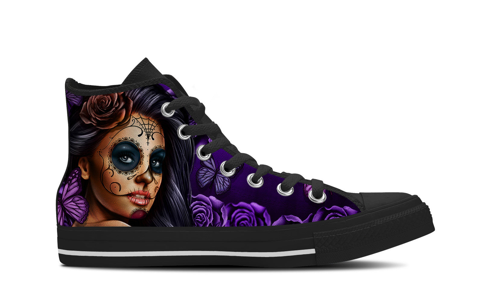 Purple Calavera Womens High Top Shoe