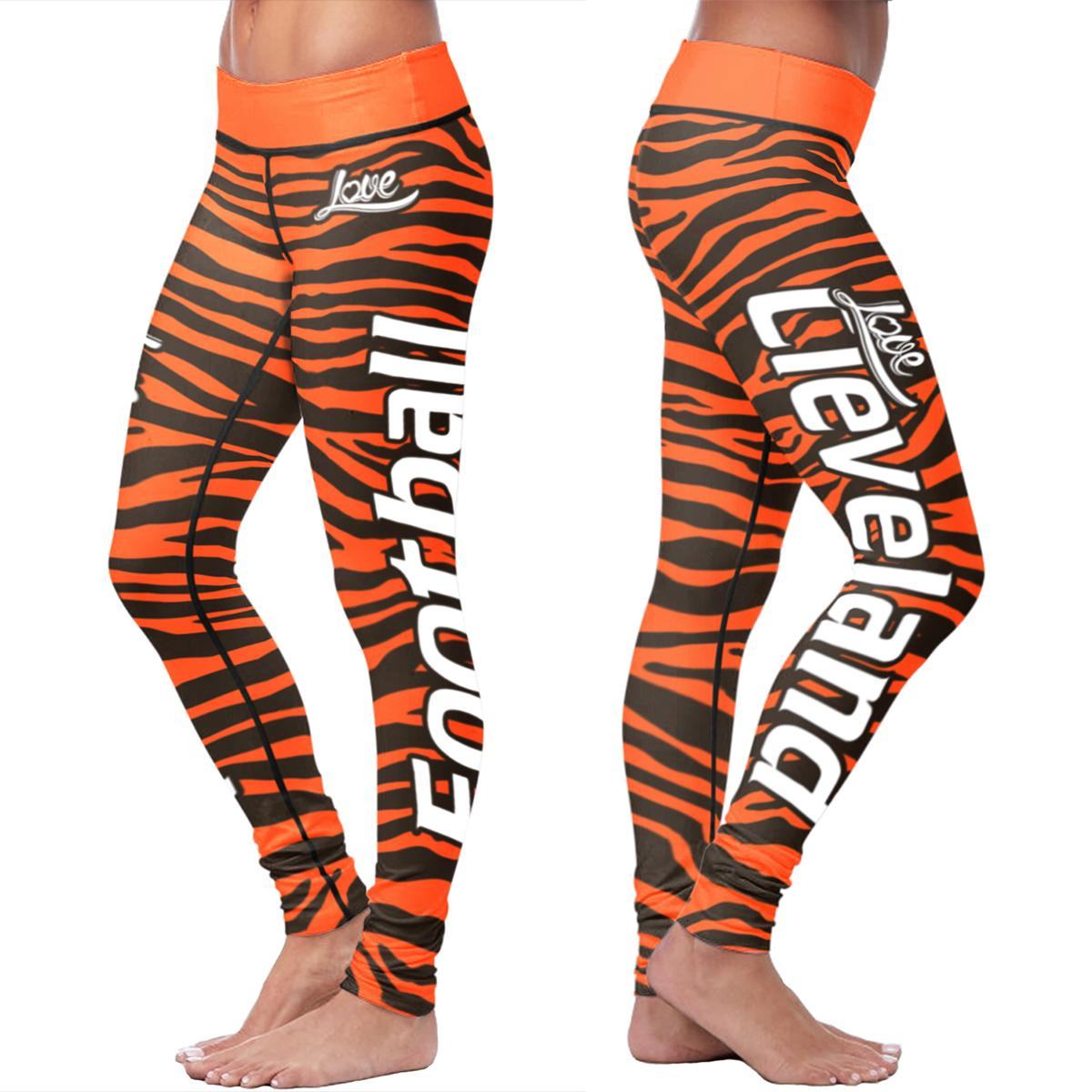 Cleveland Football Striped Leggings