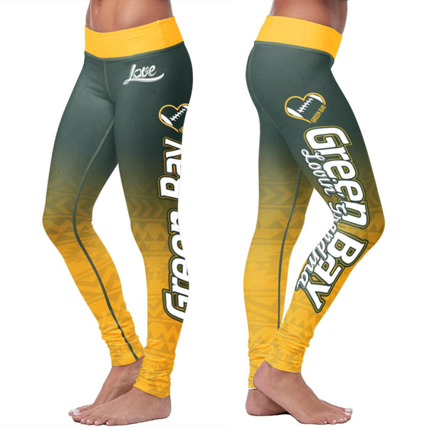 Green Bay Flower Football Leggings