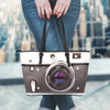 Love Photography Leather Camera Tote Bag