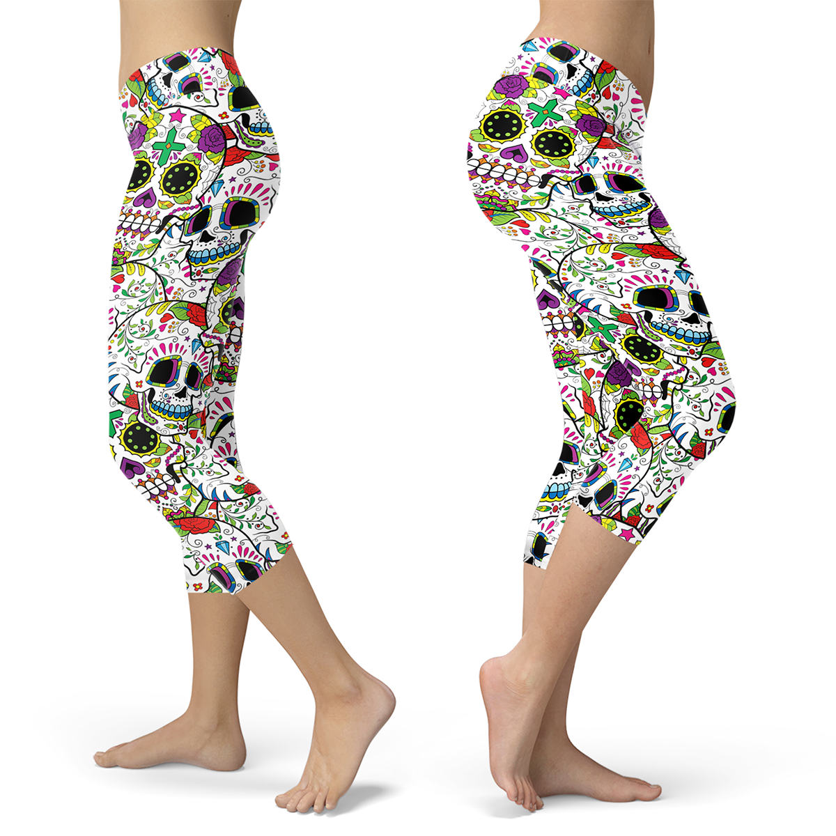 Really Colorful Sugar Skull Capris