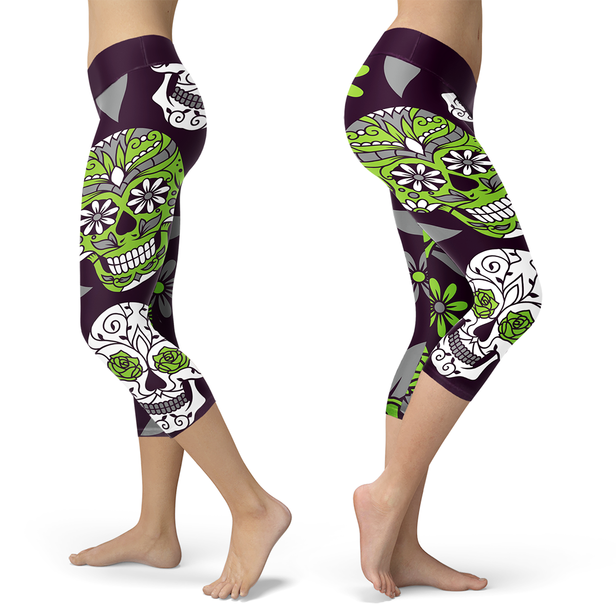 Light Green and Purple Sugar Skull Capris