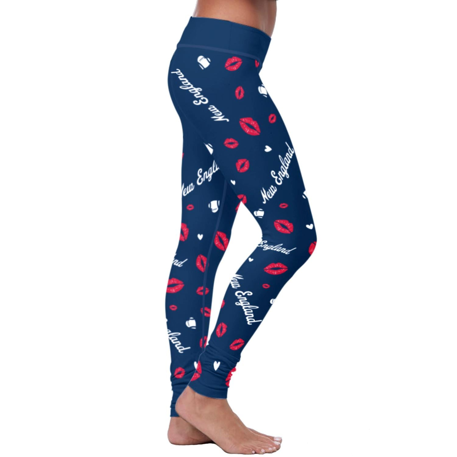New England Lovin Kisses Football Leggings