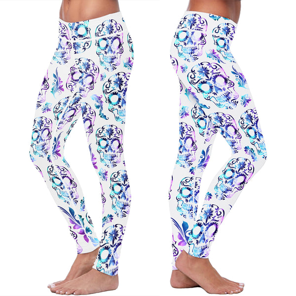White and Purple Sugar Skull Leggings