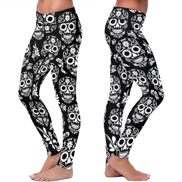 Black and White Sugar Skull Leggings