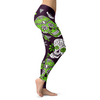Light Green and Purple Sugar Skull Leggings