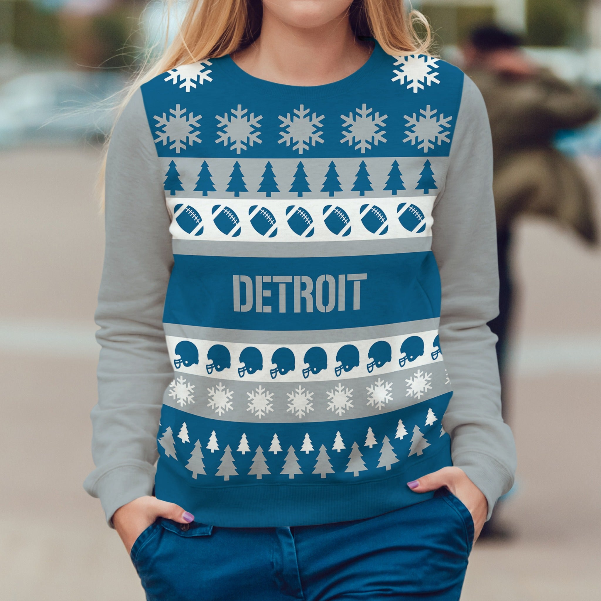 Detroit Football Ugly Christmas Sweatshirt