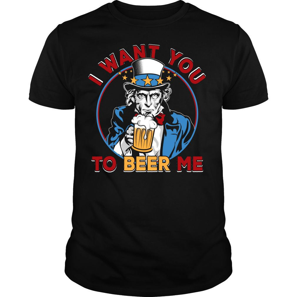 I Want You To Beer Me Uncle Sam Shirt (Black)