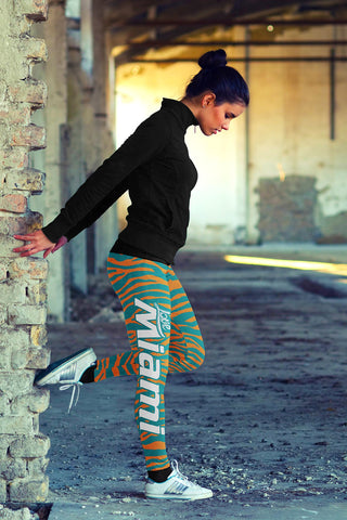 Miami Football Striped Print All Over Love Legging