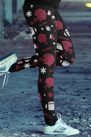 Arizona Football Ugly Christmas Leggings in Print All Over Classic Design