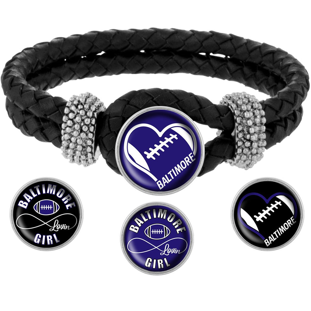 I Love Baltimore Football Bracelet with Interchangeable Snap Charms - Purple