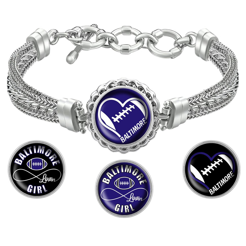 Baltimore Lovin Girl Football Metal Bracelet with Interchangeable Snap Charms