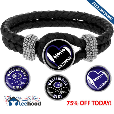 Snap Charm Interchangeable Jewelry Heart Baltimore Football Metal Bracelet - Black