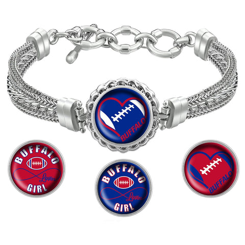 I Love Buffalo Football Bracelet with Interchangeable Snap Charms - Royal