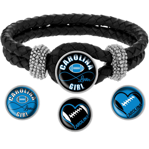Carolina Lovin Girl Football Bracelet with Interchangeable Snap Charms  - Black