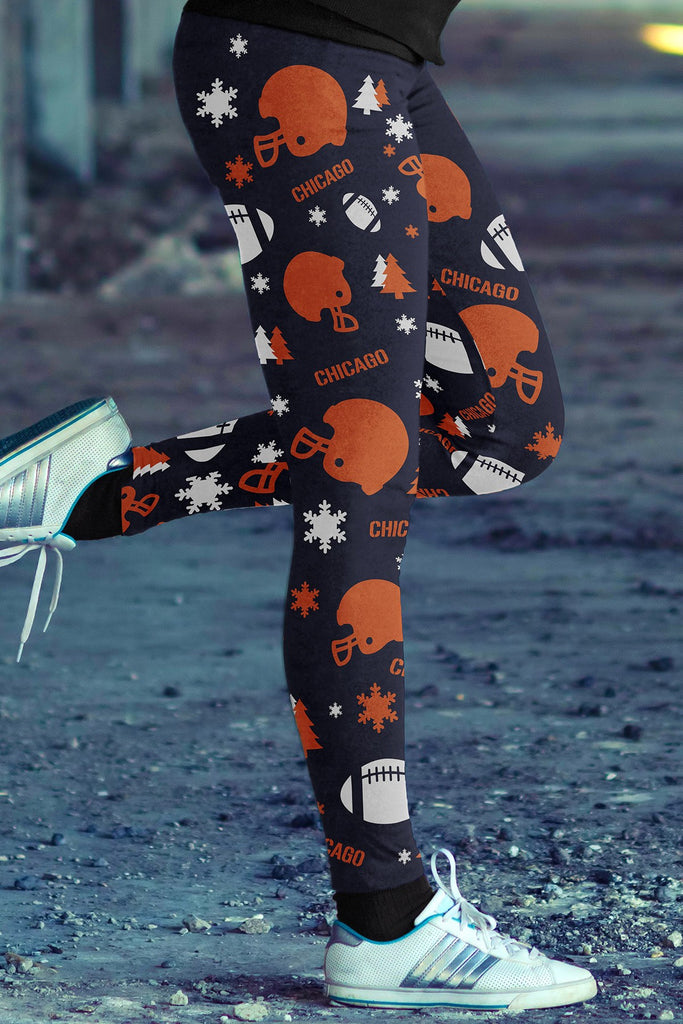 Chicago Football Ugly Christmas Leggings in Print All Over Random Design