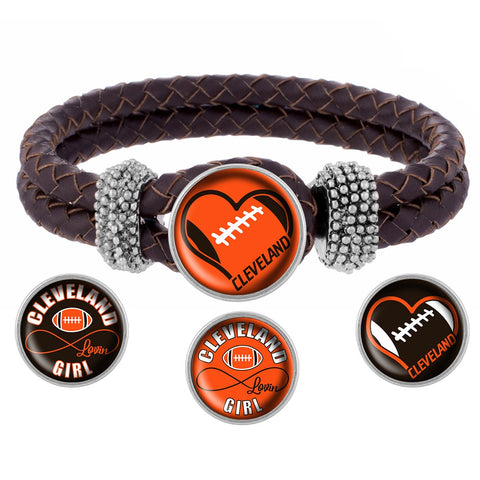 I Love Cleveland Football Bracelet with Interchangeable Snap Charms - Brown