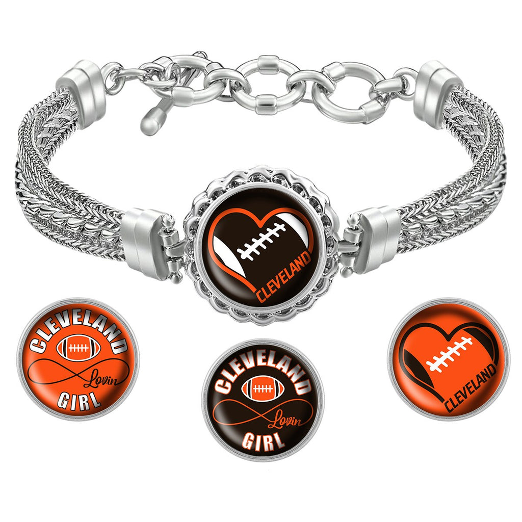 Cleveland Lovin Girl Football Metal Bracelet with Interchangeable Snap Charms - Brown