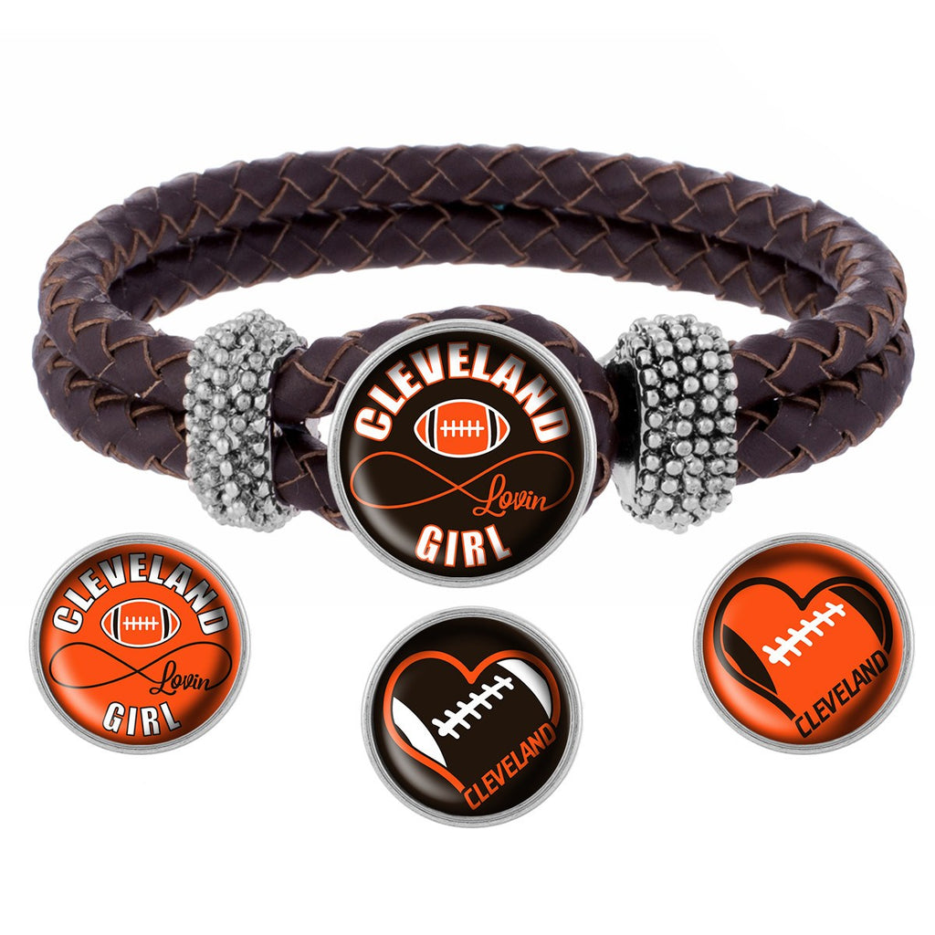 Cleveland Lovin Girl Football Bracelet with Interchangeable Snap Charms - Black