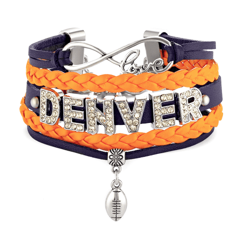 Infinity Love Stacked PU Leather Denver Football Bracelet with Crystal Letters
