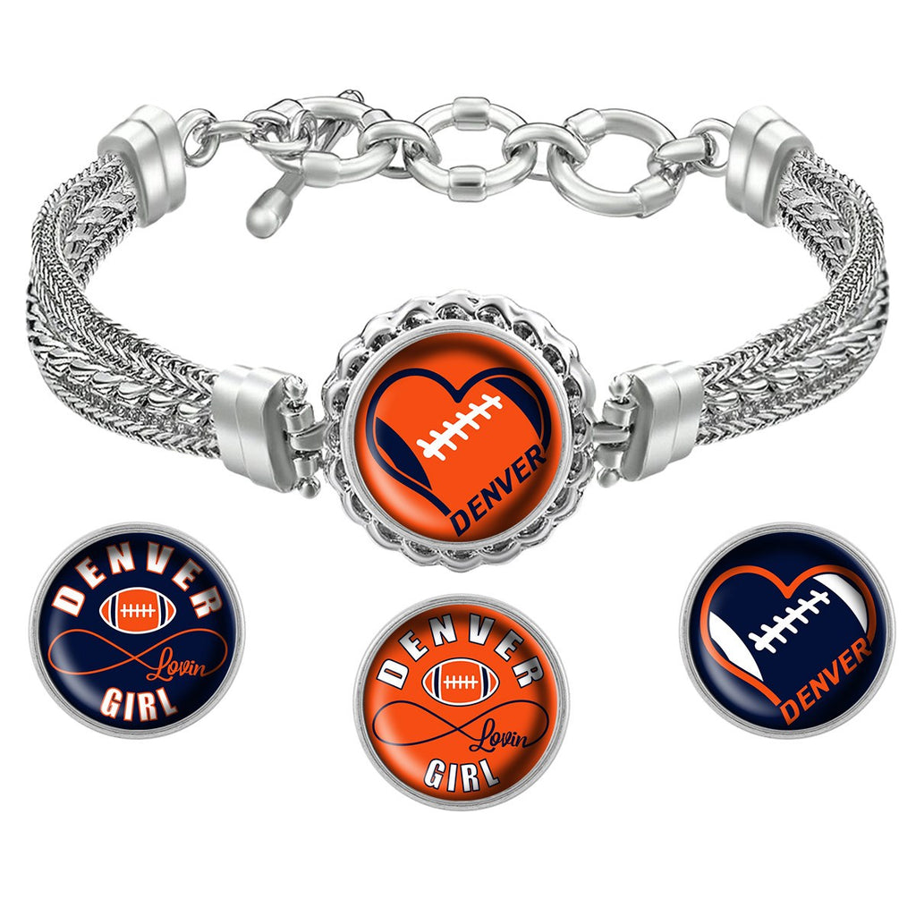 Denver Lovin Girl Football Metal Bracelet with Interchangeable Snap Charms