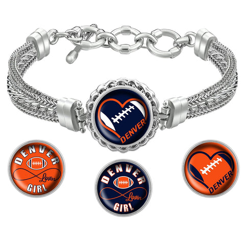 Denver Lovin Girl Football Metal Bracelet with Interchangeable Snap Charms - Navy